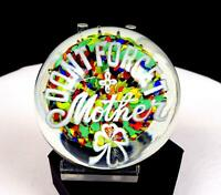 "GENTILE GLASS CO MULTICOLOR PEBBLES DONT FORGET YOUR MOTHER 2 3/8"" PAPERWEIGHT"