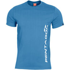 Pentagon Ageron T-Shirt Vertical Logo Gym Workout Marine Mens Top Pacific Blue
