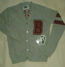 Billionaire Boys Club HU BBC Books Banks College Letterman Cardigan Gray Sweater