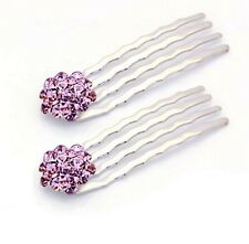 USA Mini Hair Comb Small using Swarovski Crystal Bridal PURPLE