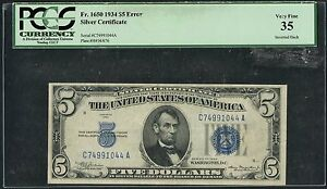 FR1650 $5 ERROR 1934 SERIES WITH INVERTED BACK PCGS VF 35 WLM1926
