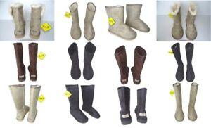 New Women's Girls Australia Boots High Beige Faux Sheepskin Suede + Multicolored