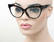 Large Cat Eye Womens Glasses Pinup Vintage Style Clear Tortoise ST18