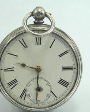 Antico 19th secolo .925 Argento Sterling Chiave Vento Orologio da taschino London 1874