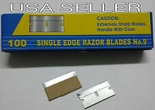 100 Single Edge Razor Blades Box Cutter Scraper Tool Sharp No. 9 Blades NEW