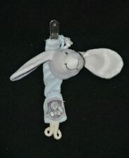 Peluche doudou chien gris blanc bleu NOUKIE'S Arthur attache tétine grelot TTBE