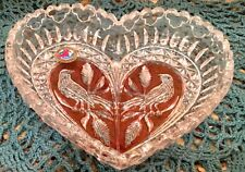 "HOFBAUER GLASS RUBY RED CRYSTAL BYRDES HEART SHAPE CANDY DISH  9"" w/sticker"
