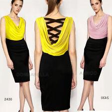 Cowl Neck Regular Sleeveless Synthetic Dresses for Women