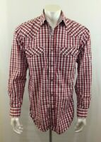 Cowboy Legend Men's Red Brown Plaid Long Sleeve Pearl Snap Western Shirt Size M