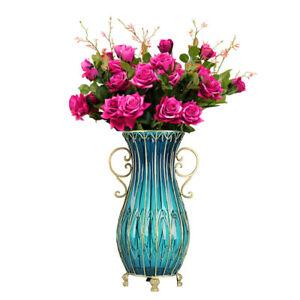 SOGA 51cm Blue Oval Floor Vase and 12pcs Dark Pink Artificial Fake Flower Set