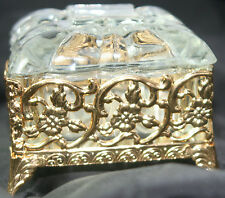 Original ANTIQUE c1900~~GLASS & GILT BOX~~w/ COVER : GORGEOUS DETAIL