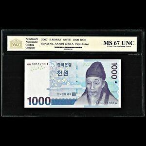 South Korea 1000 Won 2007 NNGC Uncirculated MS 67