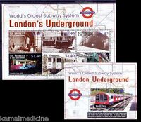 St.Vincent 2004 MNH 2 SS, London Und​erground Trains Subway Railway Tran (E15)