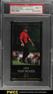 1998 Champions Of Golf Masters Collection Gold Foil Tiger Woods ROOKIE RC PSA 7