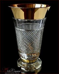 "Bohemian Crystal Vase for flowers 31 cm, ""Versace"" Gold, New!"