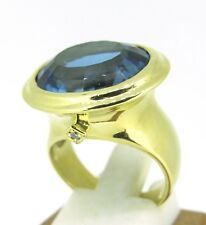 13.3 ct London Blue Topaz & Diamond 18k Yellow Gold L.K Cocktail Ring Size 7