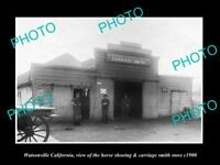 OLD LARGE HISTORIC PHOTO OF WATSONVILLE CALIFORNIA THE BLACKSMITH SHOP c1900