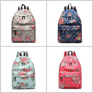 Girls Backpack Rucksack Travel A4 Canvas Flower Print School Shoulder Bag