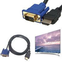 1.8M 6ft HDMI Male to VGA HD-15 15Pin Male Adapter Cable Cord for DVD HDTV