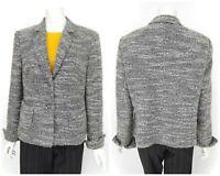 Womens Basler Boucle Tweed Blazer Jacket Grey Unlined Size 44 / UK18