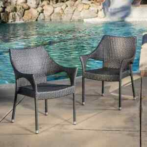 Outdoor Dining Chair 18.5 in. Stationary Weather resistant Armchair Iron Frame