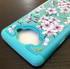 For Samsung Galaxy On5 G550 - HYBRID IMPACT DIAMOND BLING CASE BLUE PINK FLOWERS