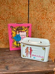 PAIR 1960s Vintage Barbie Doll Cases WORLD OF BARBIE & Francie Blue Train Case