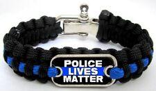 Police Lives Matter Thin Blue Line Paracord Survival Metal Clasp Bracelet P-01