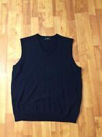 Brooks Brothers 346 Navy Blue Fine Merino Wool Sweater Best V Neck Mens Large