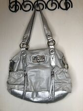 purses and handbags Kathy Van Zeeland Silver Shoulder Bag Zip Closure