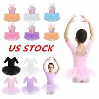 US Girls Ballet Dance Leotard Dress Sequins Tutu Skirt Gymnastics Kids Dancewear