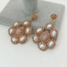 Gold plated  Sunstone White Baroque Pearl  Stud Earrings