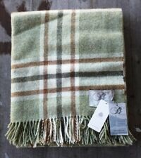Bronte by Moon Uk 100% Wool Throw – Green / Cream / Brown Check – New