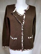 U-Knits Cardigan Tank Sweater Twin Set 100% Cashmere S Brown Leopard Print Trim