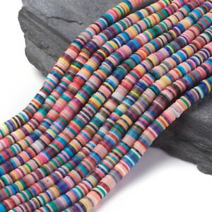 Handmade Polymer Clay Beads 3 STRANDS LOT 6mm Vinyl Heishi Chip Disk Flat Round