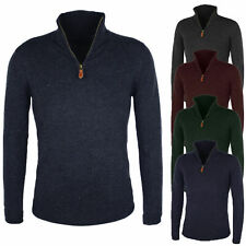 Maglione Uomo Zip Casual Pullover Invernale Cardigan Con Toppe Maglia Slim Fit