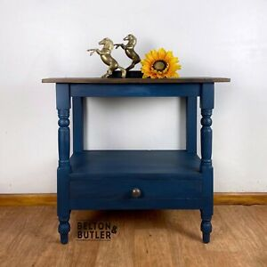 Hand Painted Solid Wood Rustic Console Table in Navy