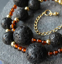 NWT GOLD vermeil baltic AMBER & black LAVA bead necklace hook clasp -K47