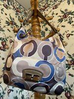 Coach F19331 KRISTIN Signature OP ART Sateen Leather Hobo Shoulder Bag Tote