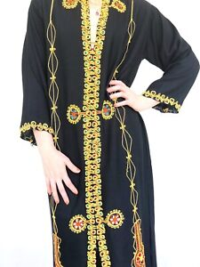 Vintage 70s Moroccan kaftan embroidered black long sleeve maxi dress