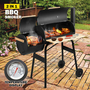 2 in 1 BBQ Smoker Charcoal Grill Roaster Portable Offset Outdoor Camping