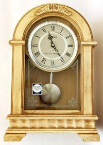 NEW Seiko Dual Chime Birch Shelf Clock QXQ004WLH