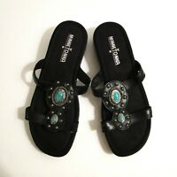 Minnetonka Black Leather Strappy Slip On Blue Stone Silver Sandals Womens Size 6
