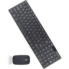 Slim 2.4G X2 Wireless Keyboard and Cordless Optical Mouse Combo For PC black