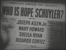 WHO IS HOPE SCHULYER? 1942 (DVD) JOSEPH ALLEN, MARY HOWARD, SHELIA RYAN