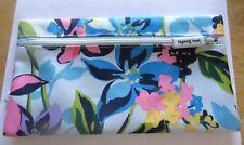Vera Bradley Lighten Up Marian Floral Pencil Pouch-2 zipped sections-floral blue