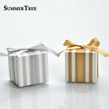 50pcs Stripe Candy Boxes Gold Silver Gift Box Wedding Baby Shower Birthday Party
