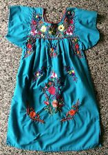 GIRLS HAND EMBROIDERED DRESS BOHO HUIPIL VINTAGE HIPPIE TUNIC MEXICAN SIZE M L