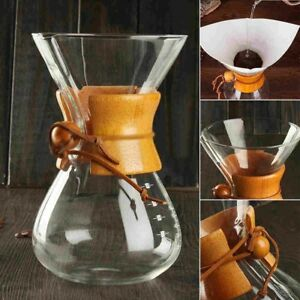 Glaskaraffe mit Holzhals im Chemex-Design, zB. Kaffeezubereiter 6 Tassen 800 ml