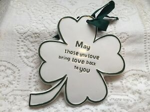 Russ Ceramic Irish Four Leaf Clover Shamrock Wall Plaque St Patrick's Day